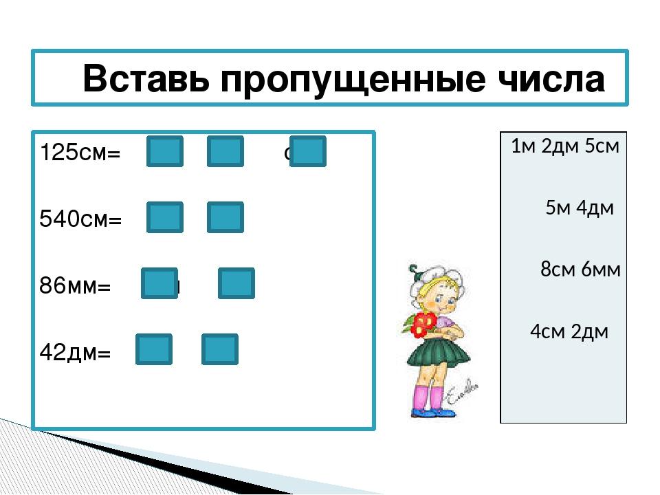 125см= м дм см 540см= м дм 86мм= см мм 42дм= м дм Вставь пропущенные числа 1м...