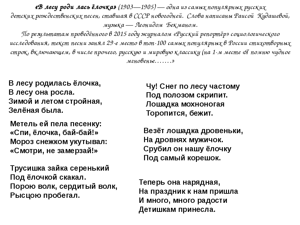 В ЛЕСУ РОДИЛАСЬ ЁЛОЧКА 6 КУПЛЕТОВ МИНУСОВКА СКАЧАТЬ БЕСПЛАТНО