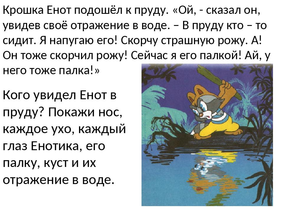 Крошка Енот подошёл к пруду. «Ой, - сказал он, увидев своё отражение в воде....