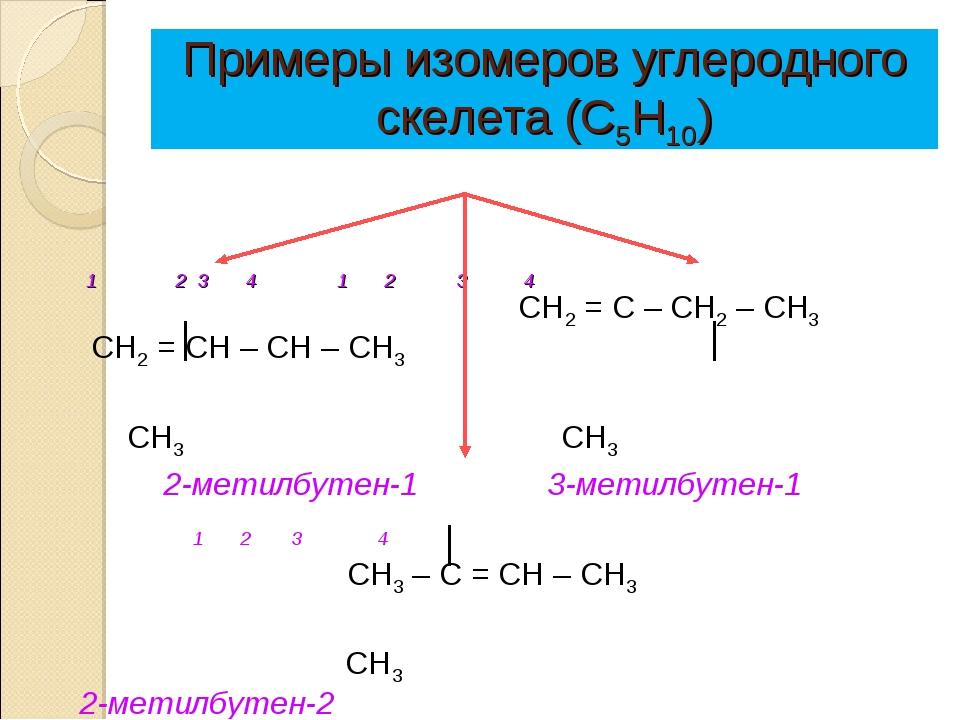 Примеры изомеров углеродного скелета (С5Н10)  1 2 3 4 1 2 3 4 СН2 = С...
