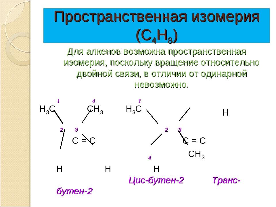 Пространственная изомерия (С4Н8) Для алкенов возможна пространственная изомер...