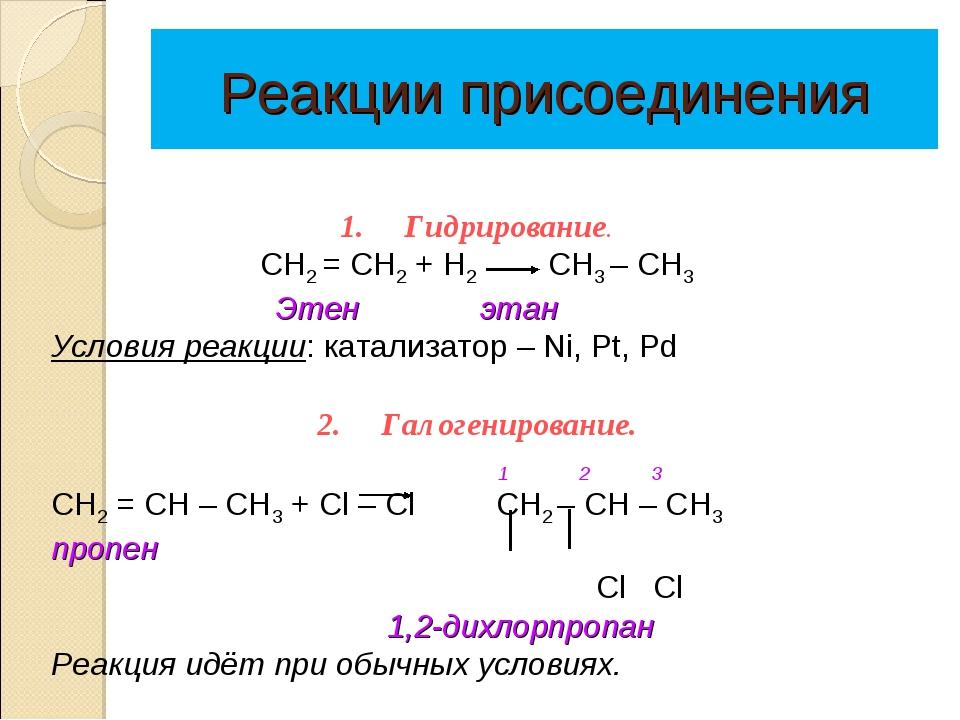 Реакции присоединения 1.Гидрирование. CН2 = СН2 + Н2 СН3 – СН3 Этен этан...