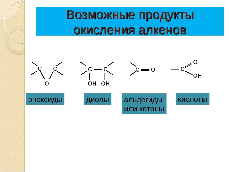 Возможные продукты окисления алкенов эпоксиды диолы альдегиды или кетоны кисл...