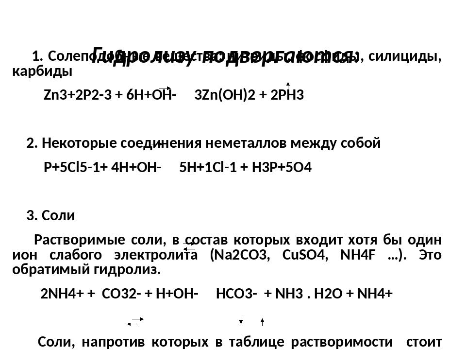 Гидролизу подвергаются: 1. Солеподобные вещества: нитриды, фосфиды, силициды...