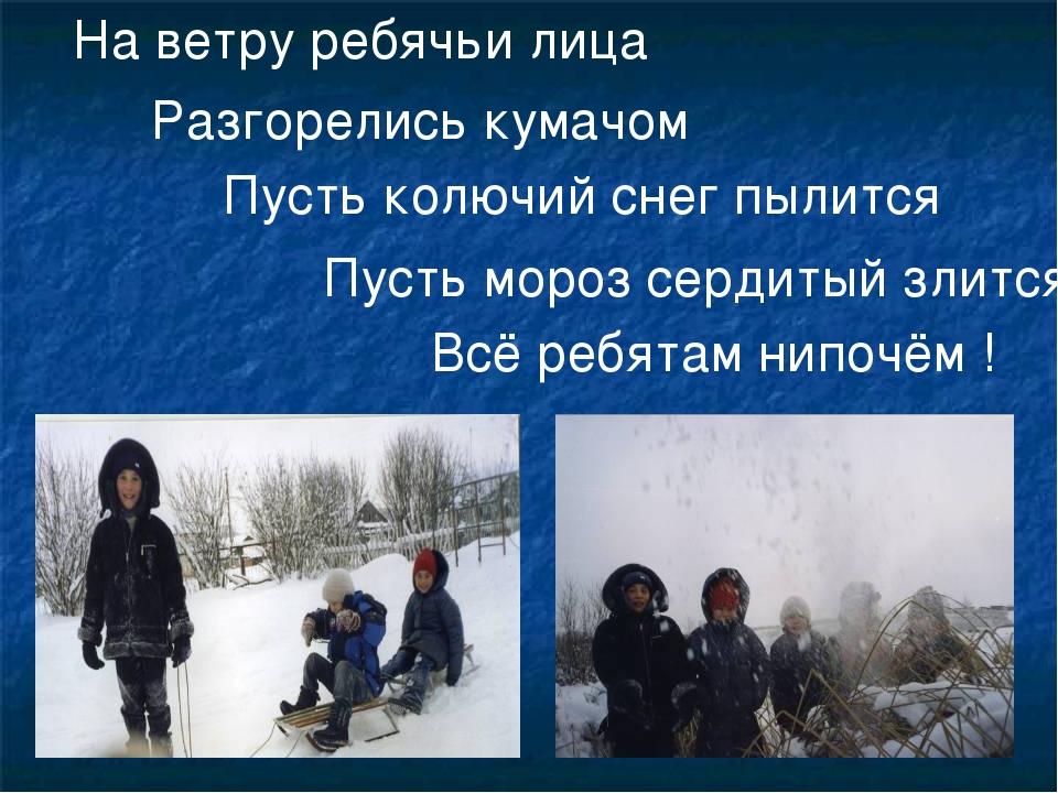 На ветру ребячьи лица Разгорелись кумачом Пусть колючий снег пылится Пусть мо...