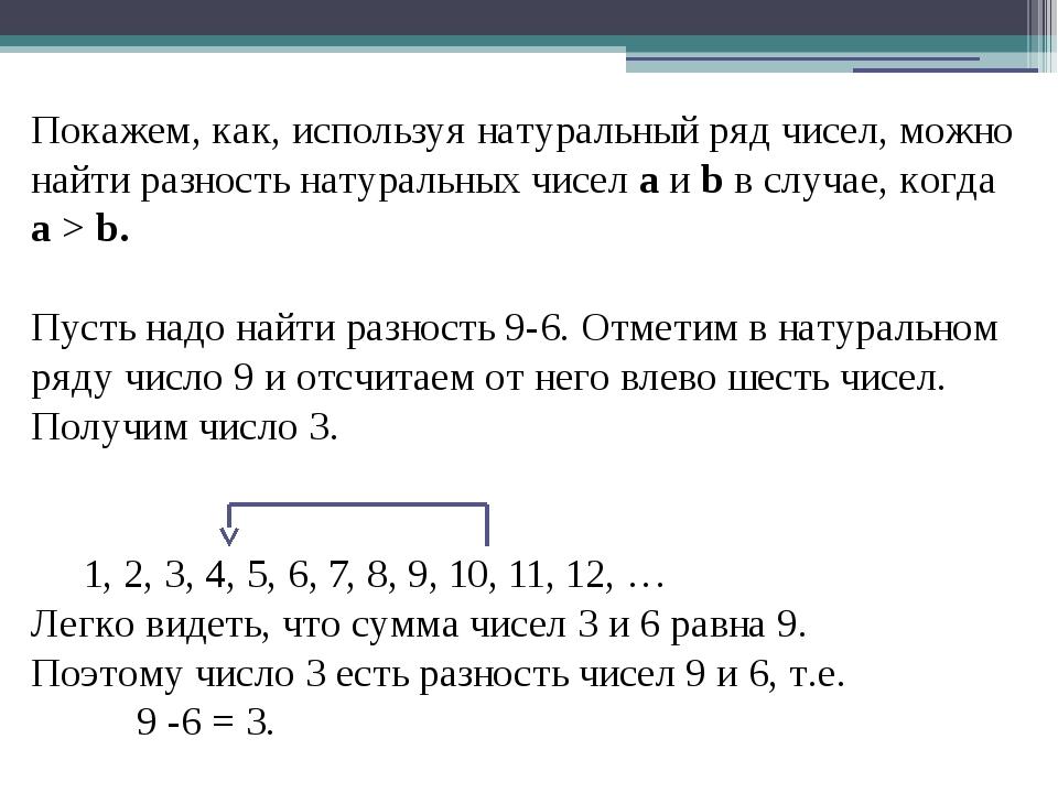 Разность натуральных чисел а b существует