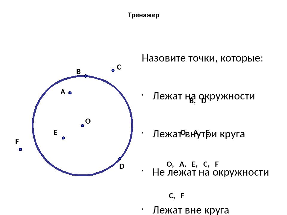 Тренажер Назовите точки, которые: Лежат на окружности Лежат внутри круга Не л...
