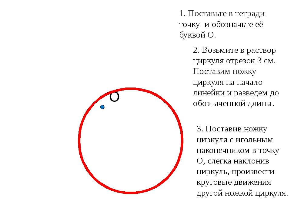 О 1. Поставьте в тетради точку и обозначьте её буквой О. 2. Возьмите в раств...
