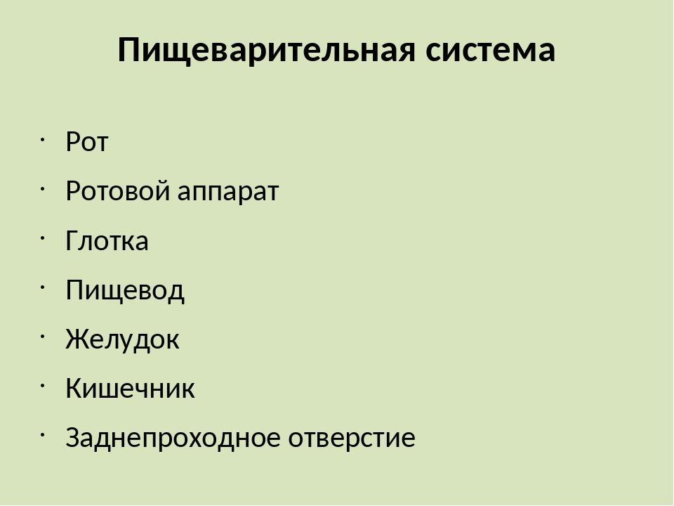 Пищеварительная система Рот Ротовой аппарат Глотка Пищевод Желудок Кишечник З...