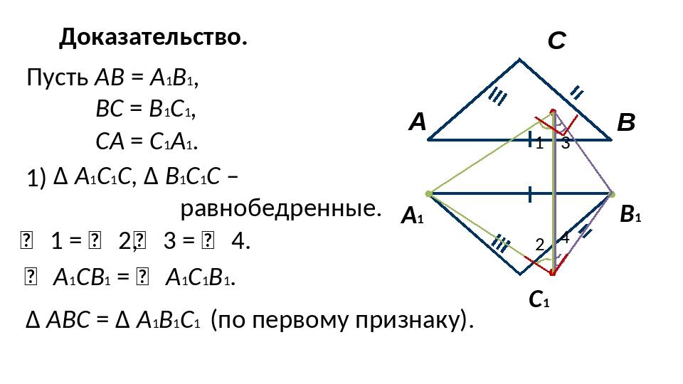 Доказательство. А1 В1 С1 Пусть АВ = А1В1, ВС = В1С1, СА = С1А1. 1) ∆ А1С1С, ∆...