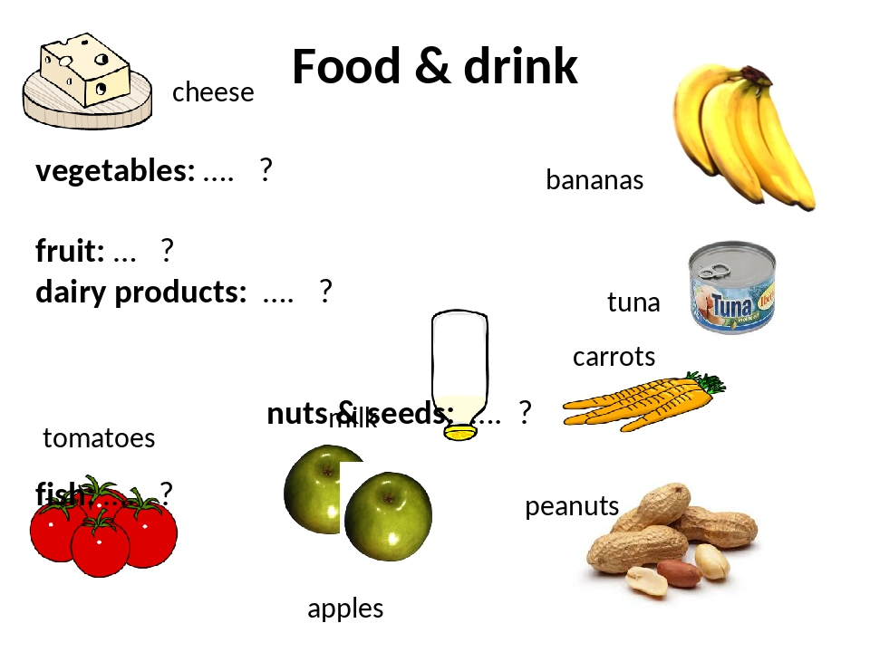 Food & drink vegetables: …. ? fruit: … ? dairy products: …. ? nuts & seeds: …...