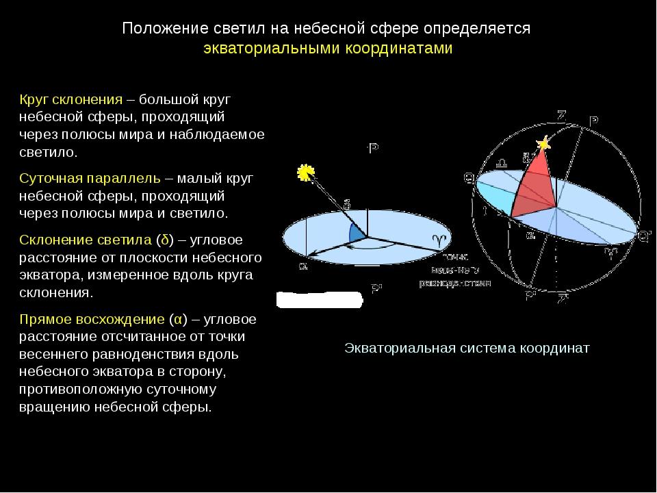 Экваториальная система координат Круг склонения – большой круг небесной сферы...