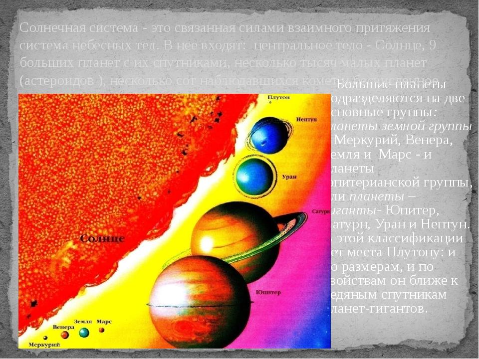 Большие планеты подразделяются на две основные группы: планеты земной группы...