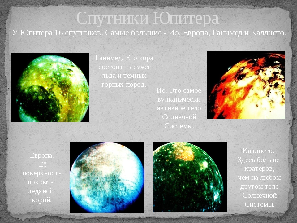 У Юпитера 16 спутников. Самые большие - Ио, Европа, Ганимед и Каллисто. Спутн...