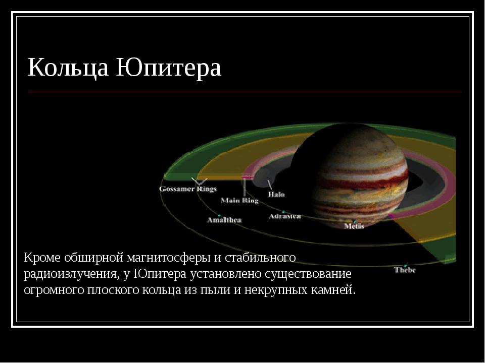 Кольца Юпитера Кроме обширной магнитосферы и стабильного радиоизлучения, у Юп...