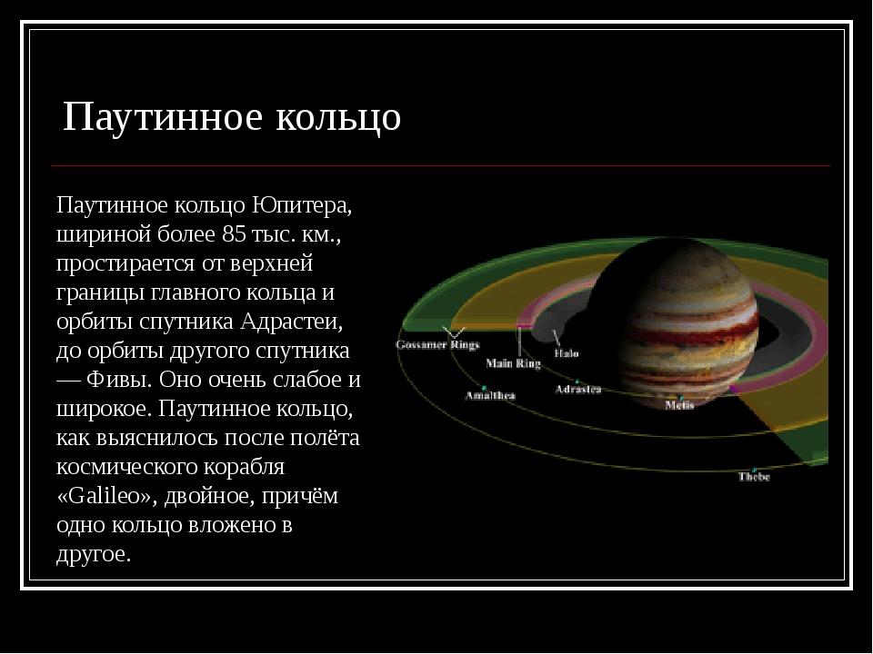 Паутинное кольцо Юпитера, шириной более 85 тыс. км., простирается от верхней...