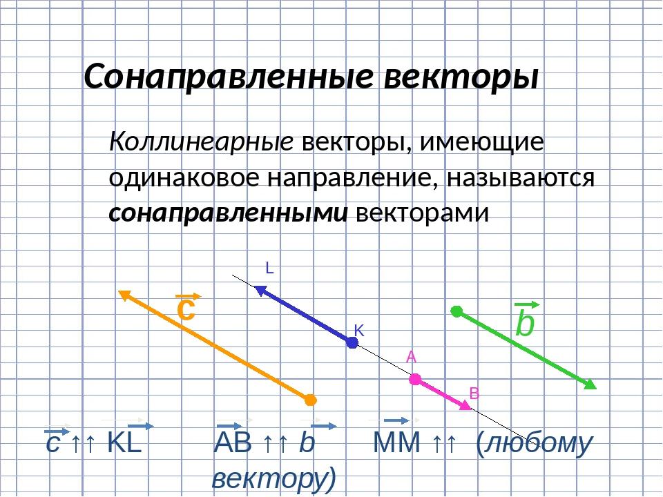 Коллинеарные векторы, имеющие одинаковое направление, называются сонаправлен...