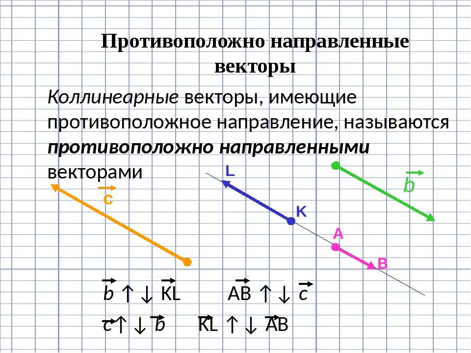 Противоположно направленные векторы Коллинеарные векторы, имеющие противопол...