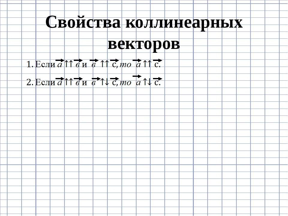 Свойства коллинеарных векторов