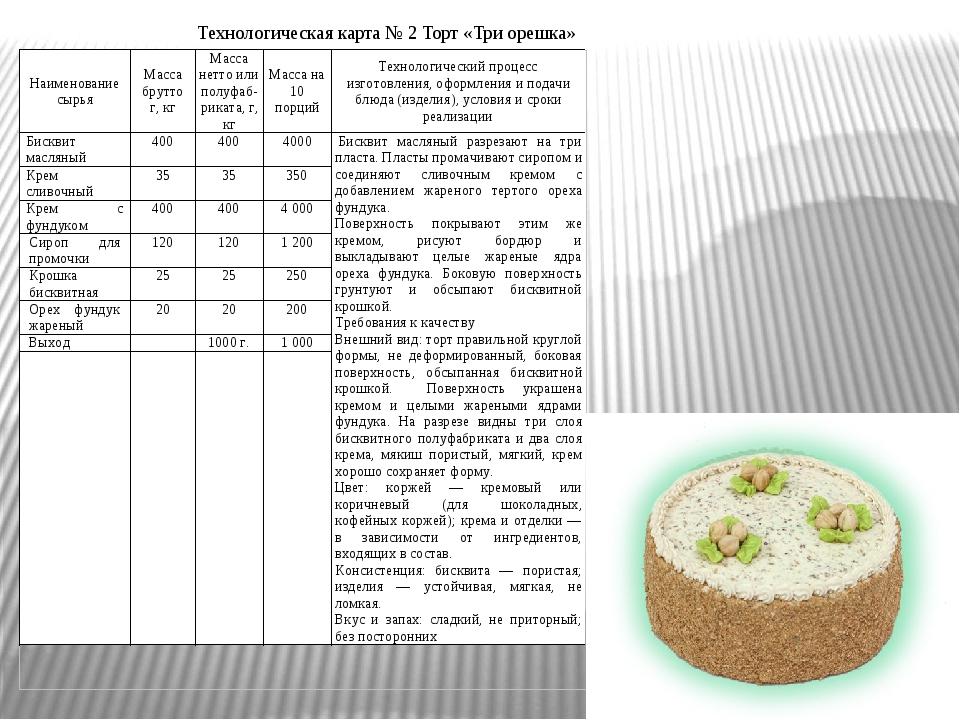 Технологическая карта № 2 Торт «Три орешка»