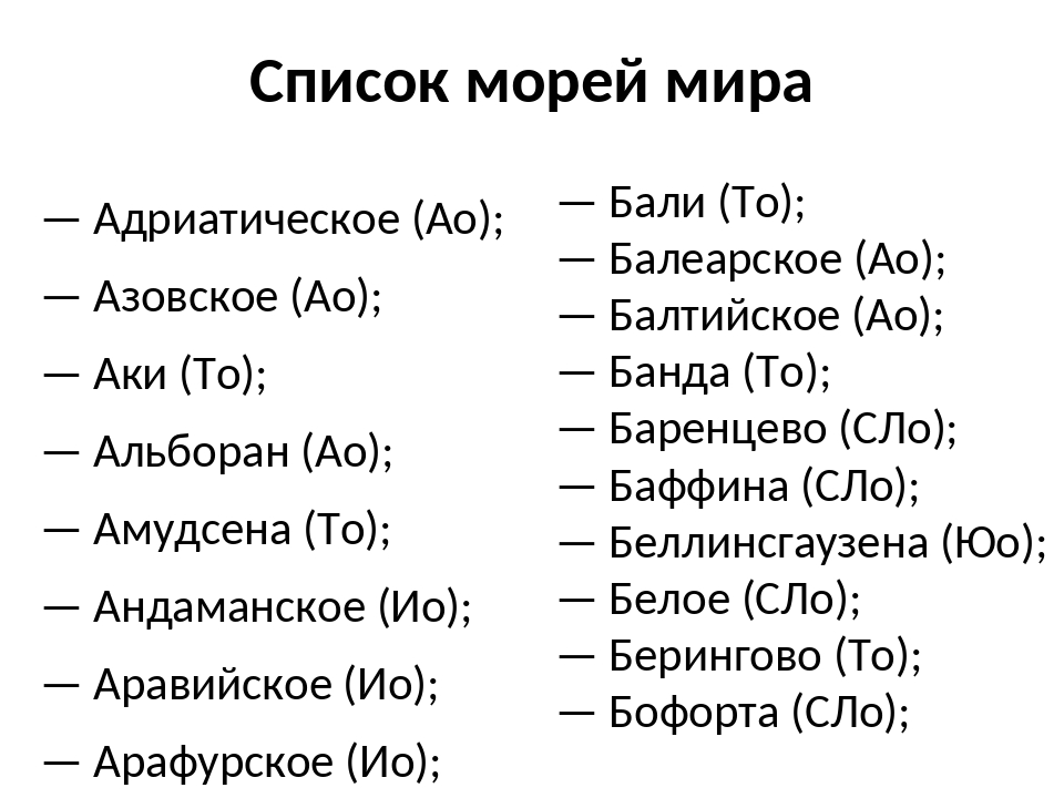 Список морей мира — Адриатическое (Ао); — Азовское (Ао); — Аки (То); — Альбор...
