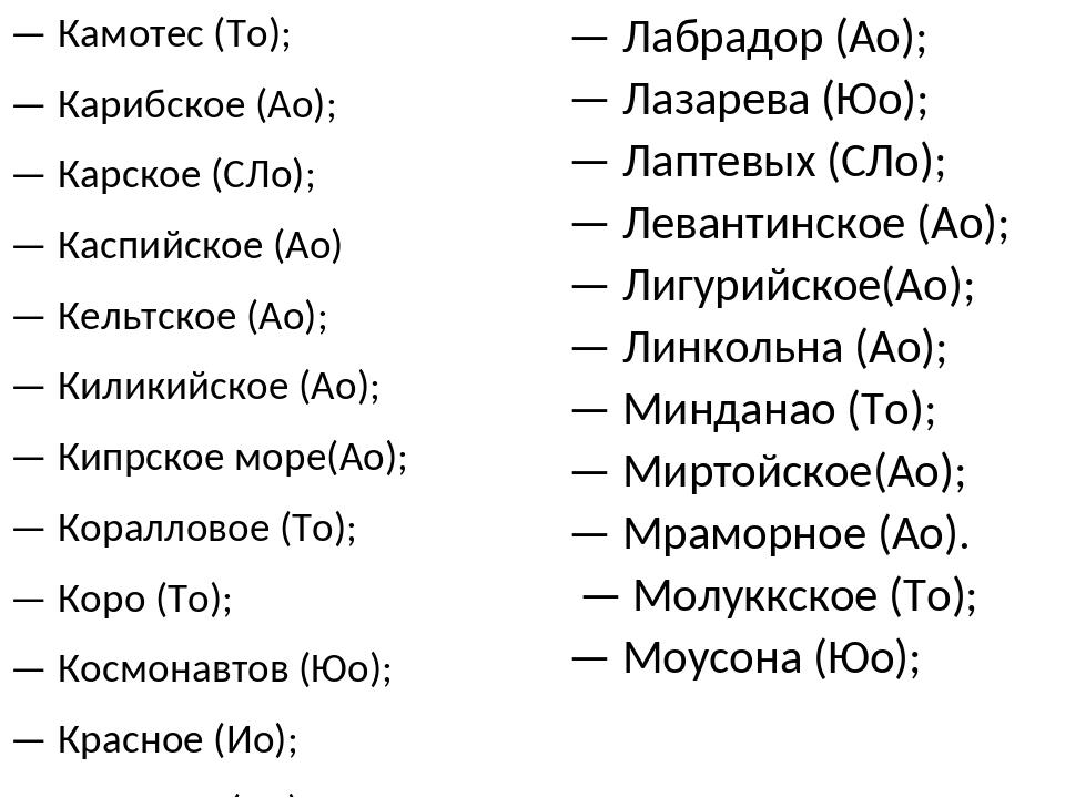 — Камотеc (То); — Карибское (Ао); — Карское (СЛо); — Каспийское (Ао) — Кельтс...