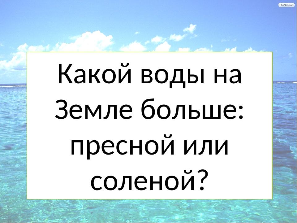 Какой воды на Земле больше: пресной или соленой?