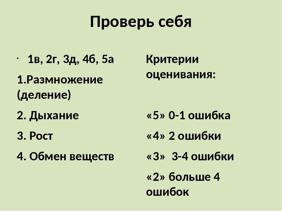Проверь себя 1в, 2г, 3д, 4б, 5а 1.Размножение (деление) 2. Дыхание 3. Рост 4....