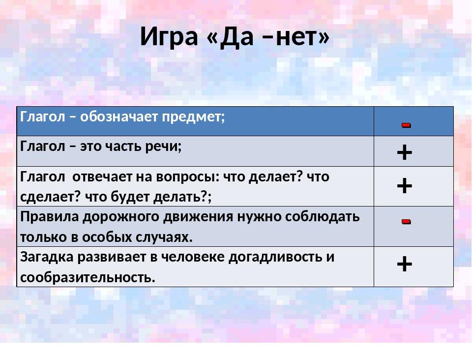 Игра «Да –нет» + + + Глагол – обозначает предмет; Глагол – это часть речи; ...