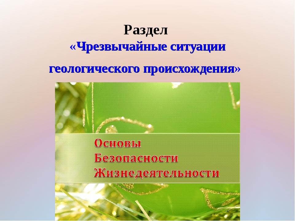 Раздел «Чрезвычайные ситуации геологического происхождения» .