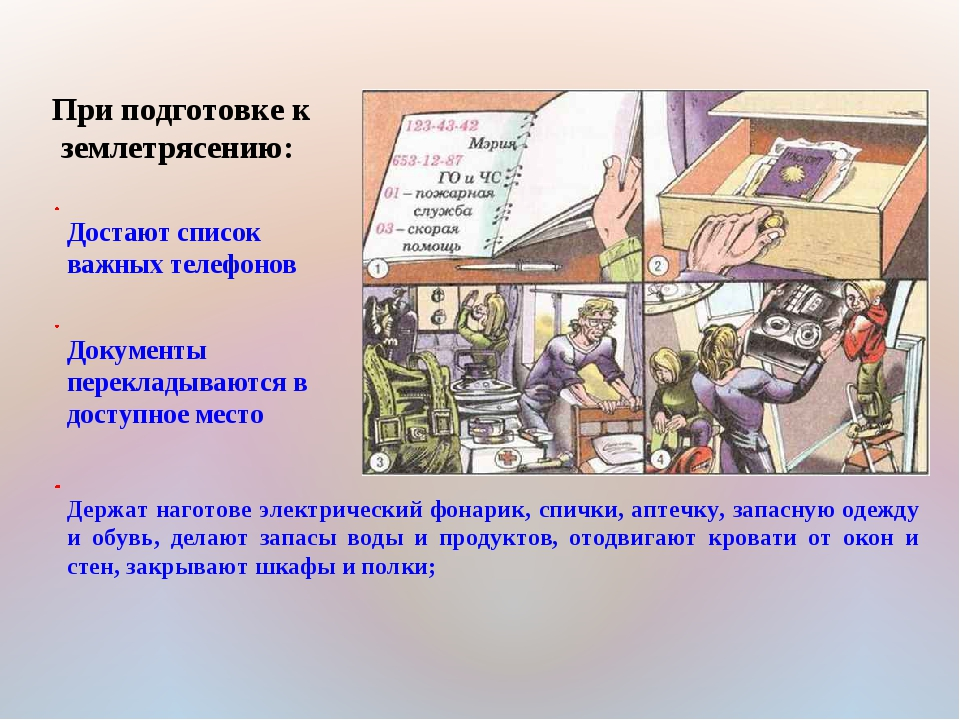 При подготовке к землетрясению: Достают список важных телефонов Документы пер...