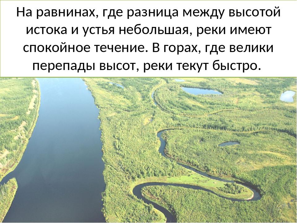 На равнинах, где разница между высотой истока и устья небольшая, реки имеют с...
