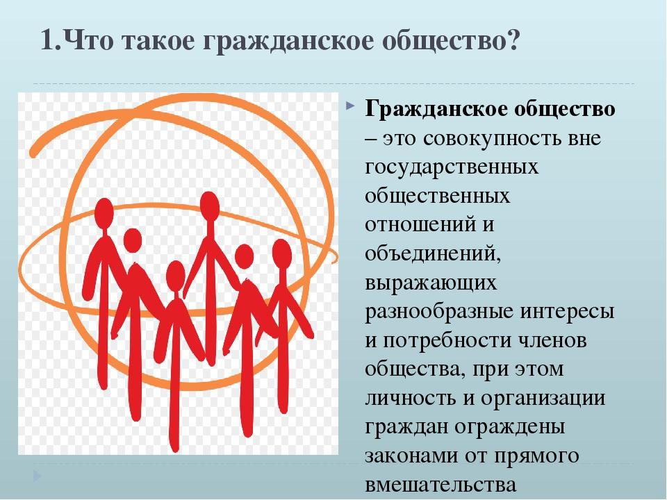 1.Что такое гражданское общество? Гражданское общество – это совокупность вне...