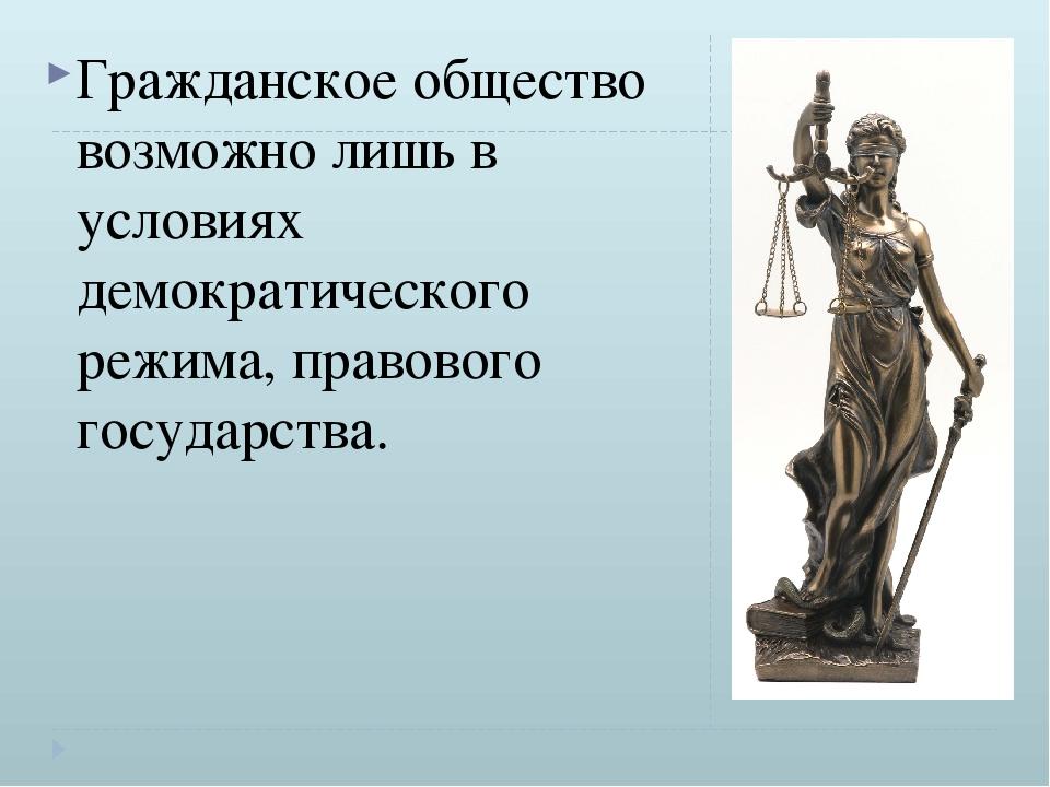 Гражданское общество возможно лишь в условиях демократического режима, право...