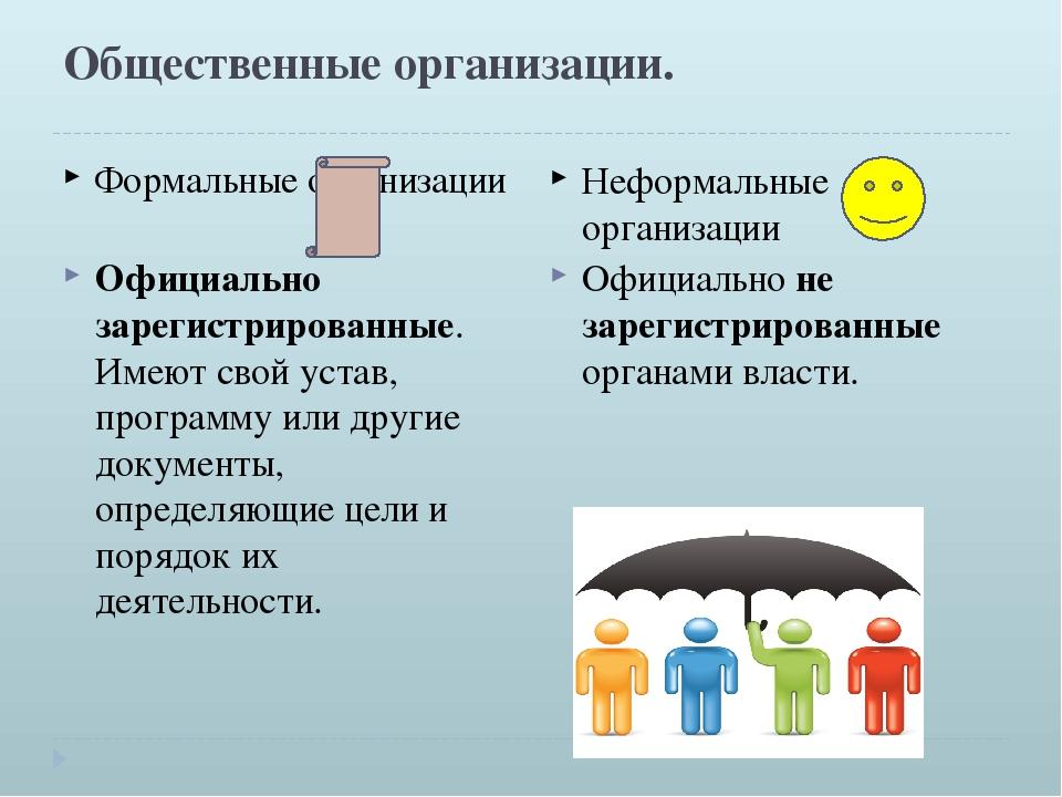 Общественные организации. Формальные организации Неформальные организации Офи...