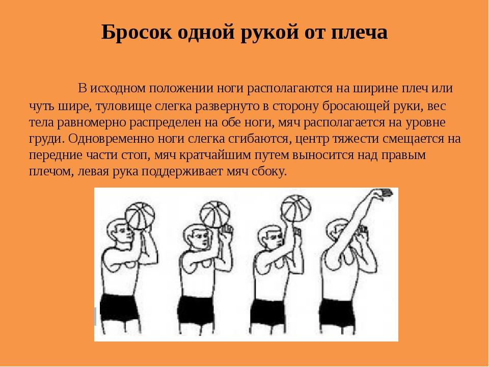 Бросок одной рукой от плеча В исходном положении ноги располагаются на шири...