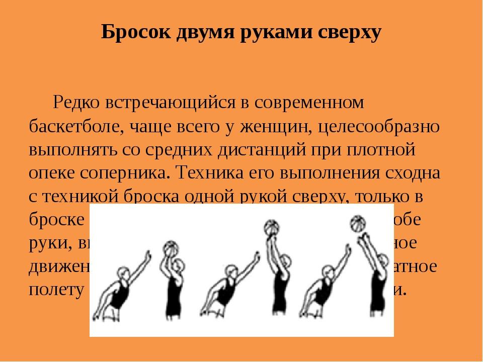 Бросок двумя руками сверху Редко встречающийся в современном баскетболе, чащ...