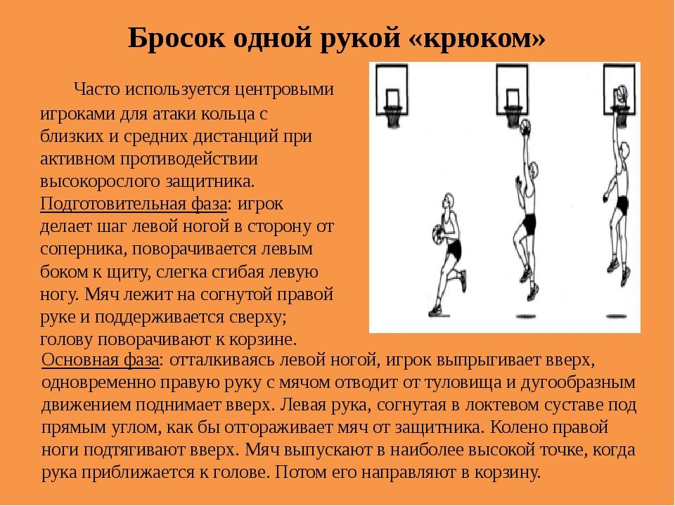 Бросок одной рукой «крюком» Часто используется центровыми игроками для атаки...