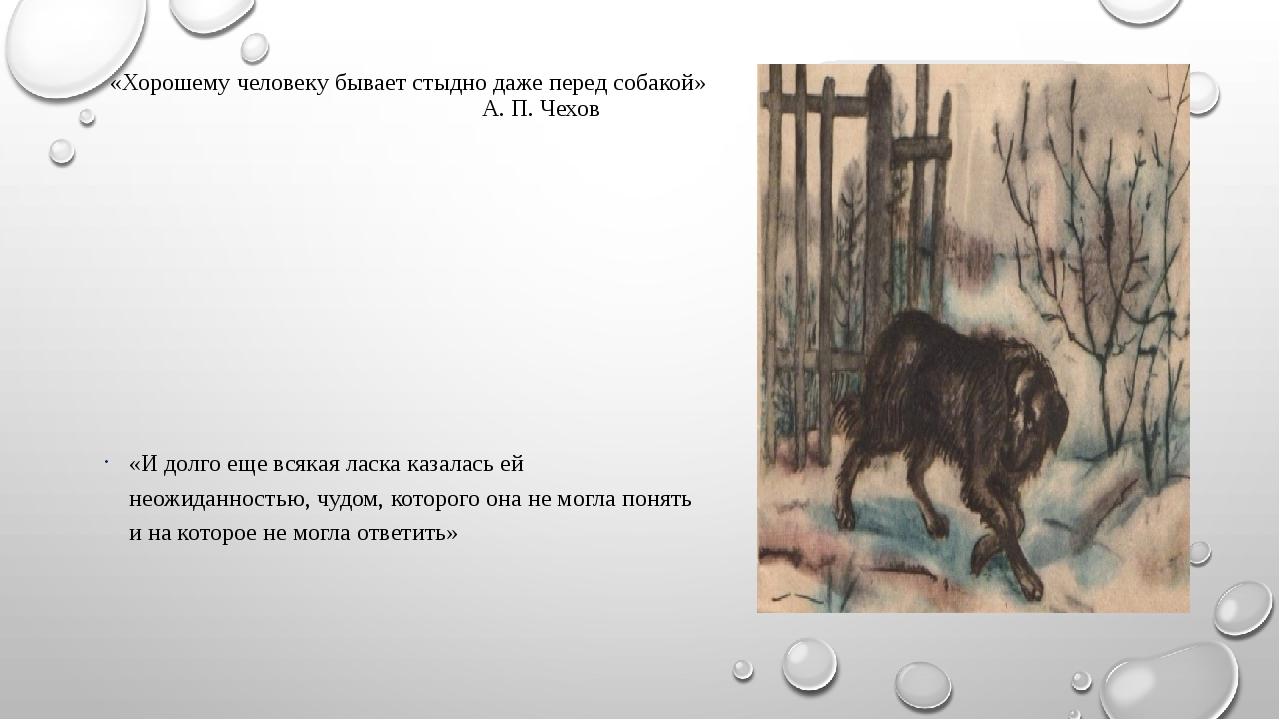 «Хорошему человеку бывает стыдно даже перед собакой» А. П. Чехов «И долго еще...