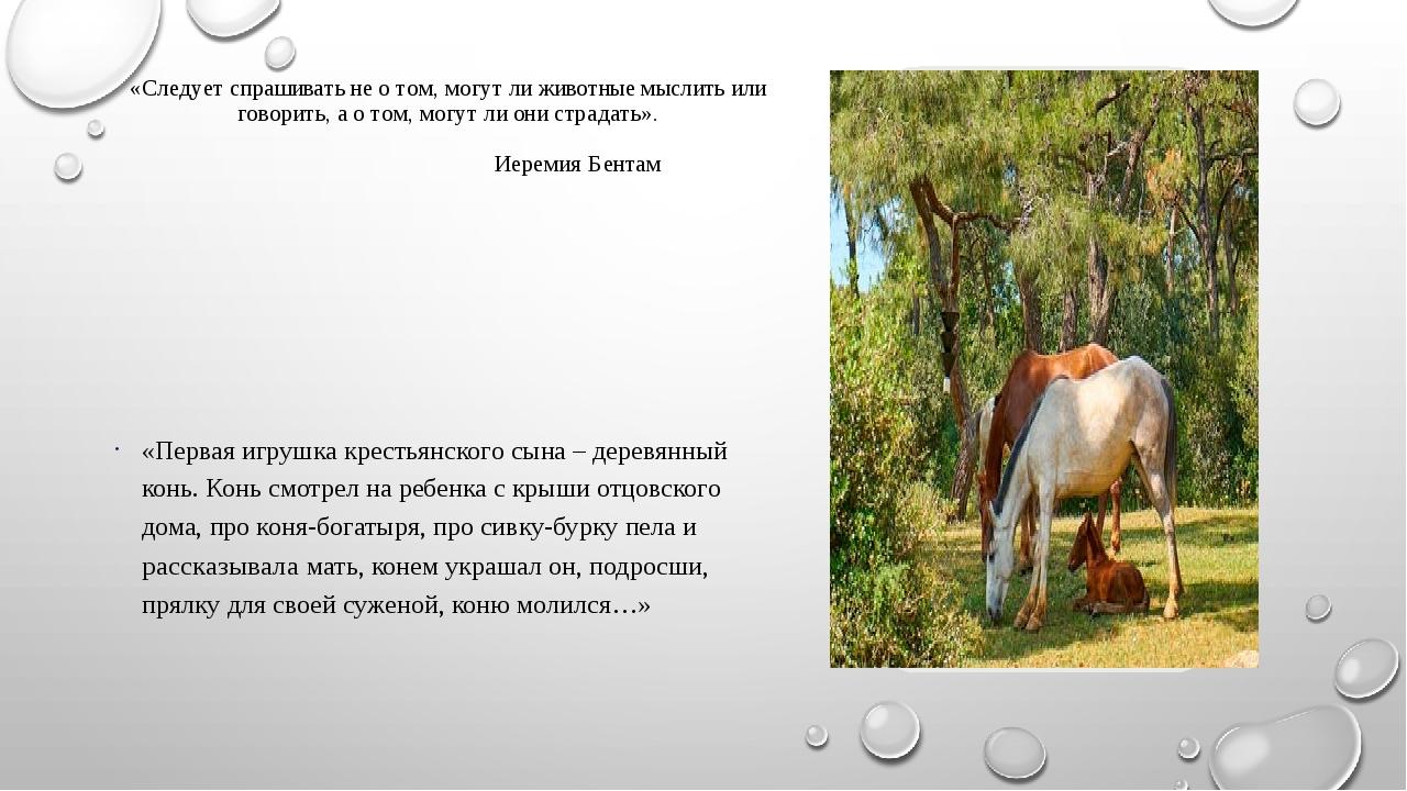 «Следует спрашивать не о том, могут ли животные мыслить или говорить, а о том...