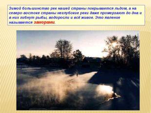 Зимой большинство рек нашей страны покрывается льдом, а на северо-востоке стр