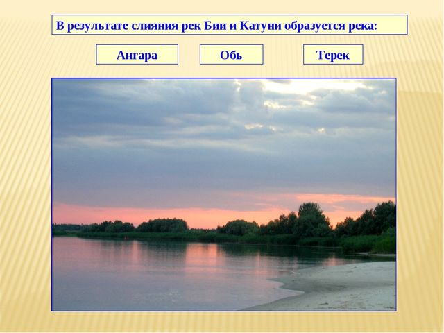 В результате слияния рек Бии и Катуни образуется река: Ангара Обь Терек