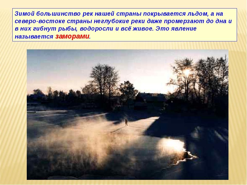 Зимой большинство рек нашей страны покрывается льдом, а на северо-востоке стр...