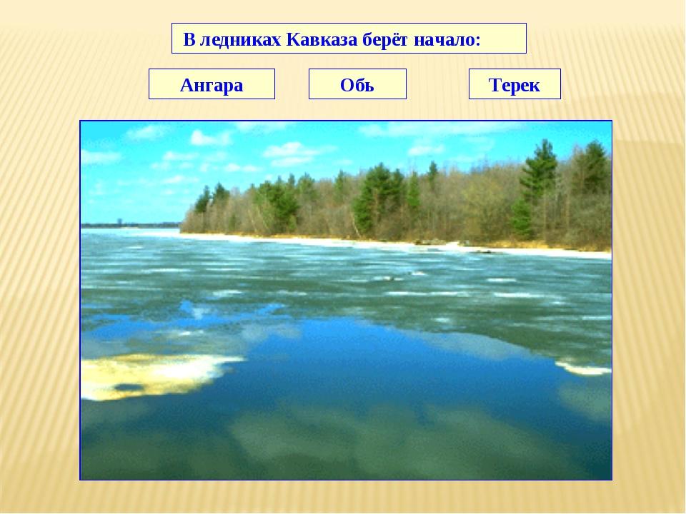В ледниках Кавказа берёт начало: Ангара Обь Терек