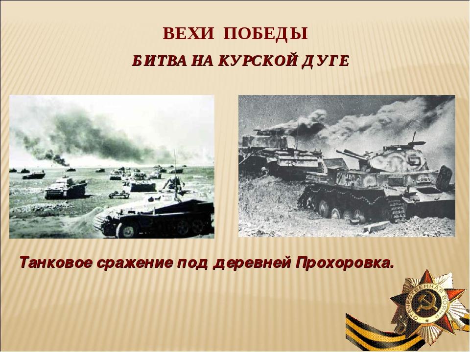 ВЕХИ ПОБЕДЫ БИТВА НА КУРСКОЙ ДУГЕ Танковое сражение под деревней Прохоровка.