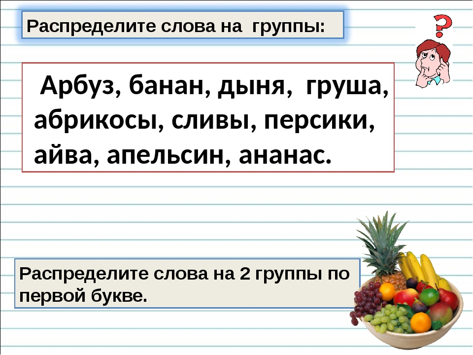 Распределите слова на 2 группы по первой букве. Арбуз, банан, дыня, груша, аб...