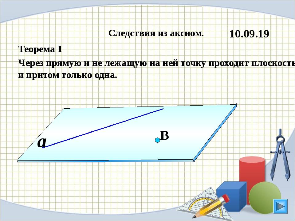 Следствия из аксиом. Теорема 1 Через прямую и не лежащую на ней точку проход...