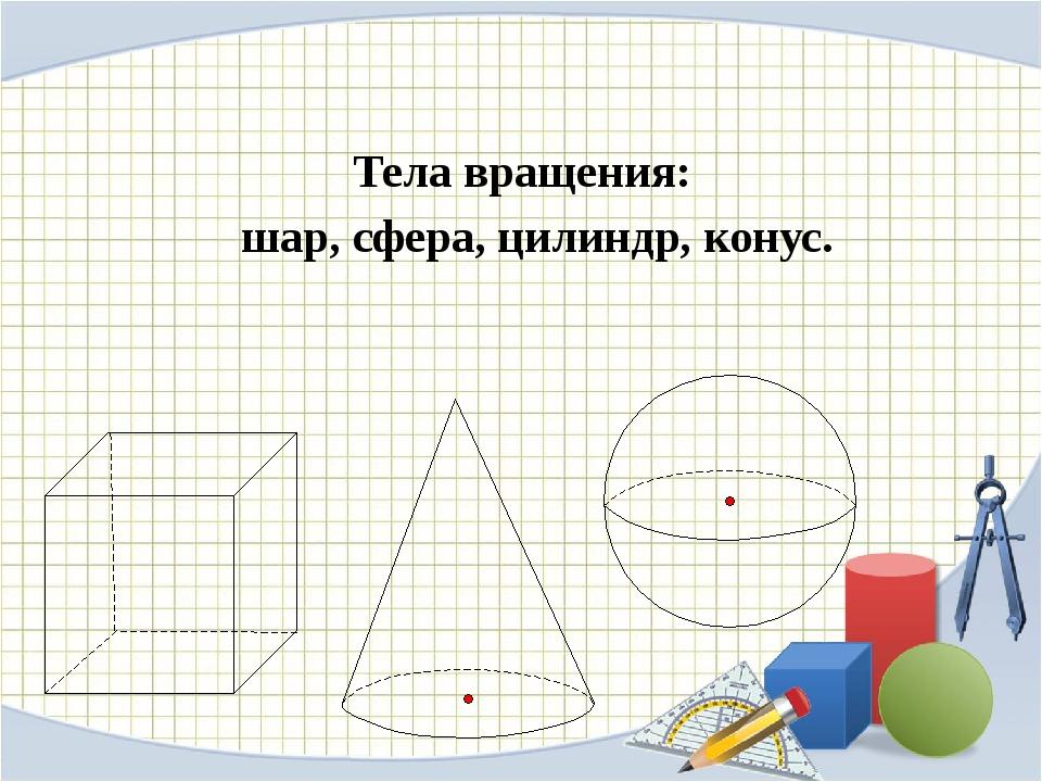 Тела вращения: шар, сфера, цилиндр, конус.