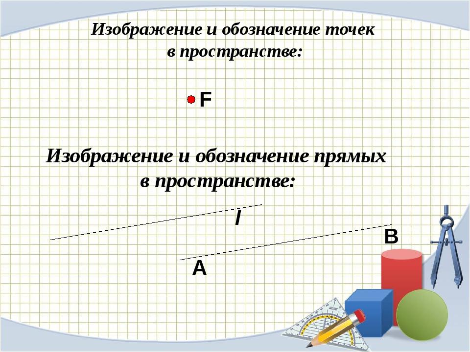 Изображение и обозначение точек в пространстве: Изображение и обозначение пря...
