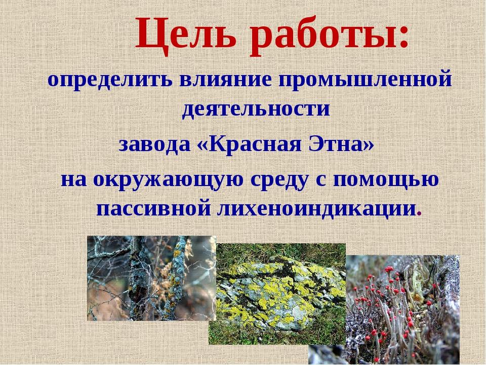 Цель работы: определить влияние промышленной деятельности завода «Красная Эт...